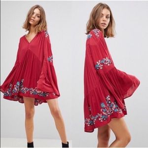 Free People Te Amo Red Boho Embroidered Mini Dress